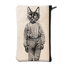 Pochette en coton blanc sérigraphiée avec un chat en pantalon
