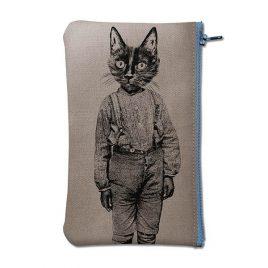 Pochette en coton gris sérigraphiée avec un chat en pantalon