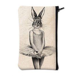 Pochette en coton blanc sérigraphiée avec un lapin en robe