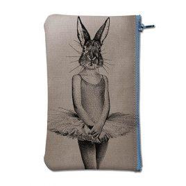 Pochette en coton gris sérigraphiée avec un lapin en robe