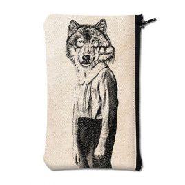 Pochette en coton blanc sérigraphiée avec un loup