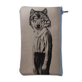 Pochette en coton gris sérigraphiée avec un loup