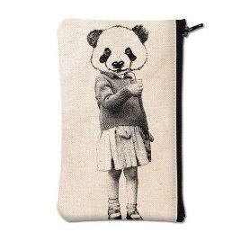 Pochette en coton blanc sérigraphiée avec un panda