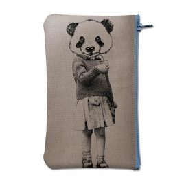 Pochette en coton gris sérigraphiée avec un panda