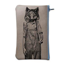 Pochette en coton gris sérigraphiée avec un renard