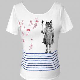 T-shirt marinière blanc avec chat et oiseaux