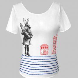 T-shirt marinière blanc avec lapin et maisons