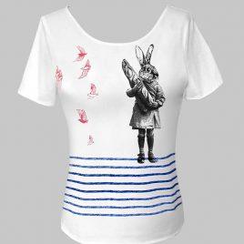 T-shirt marinière blanc avec lapin et oiseaux