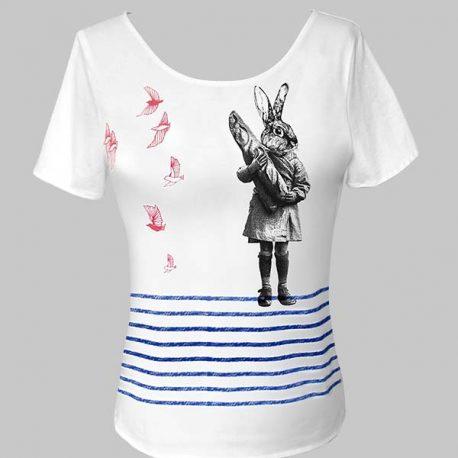 T-shirts blanc lapin oiseaux
